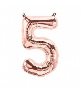 Rose Gold Mylar Balloon Number 5