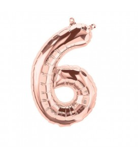 Rose Gold Mylar Ballon Number 6