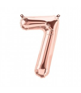 Rose Gold Mylar Balloon Number 7