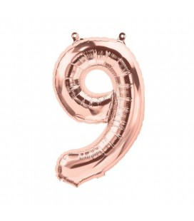 Rose Gold Mylar Balloon Number 9