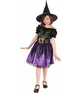 Black & Purple Witch Kids Costume