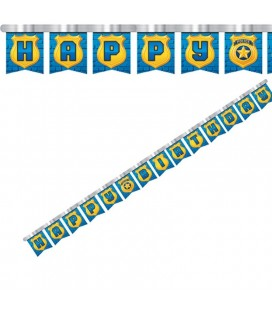 Police Party Happy Birthday Banner