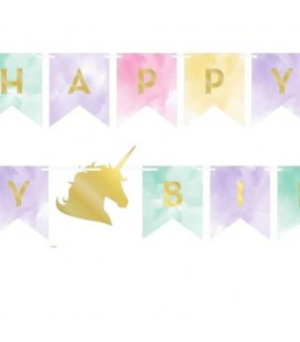 Unicorn Sparkle Happy Birthday Banner