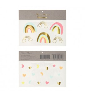 2 Neon Rainbow Temporary Tattoos