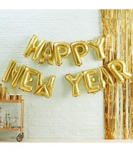 Happy New Year Gold Mylar Balloons