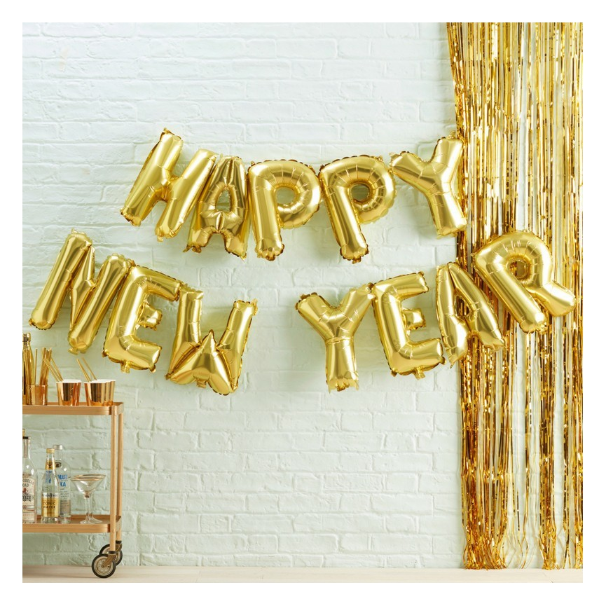 Ballons Mylar Lettres Dorées Happy New Year