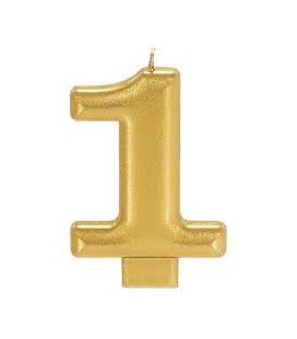 Number 1 Gold Candle