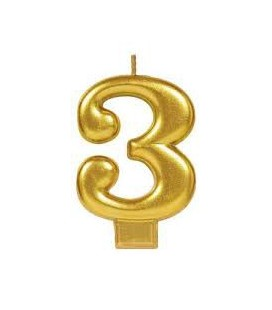 Number 3 Gold Candle