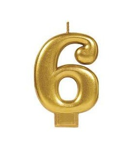 Number 6 Gold Candle