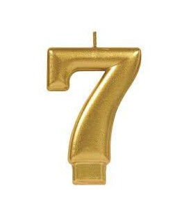Number 7 Gold Candle