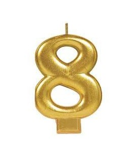 Number 8 Gold Candle