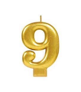 Number 9 Gold Candle