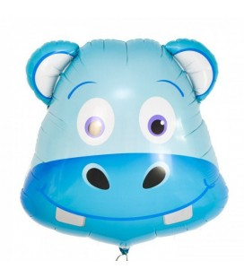 Hippo Head Mylar Balloon