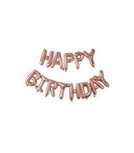 Happy Birthday Rose Gold Letters Mylar Balloons