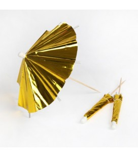 24 Gold Cocktail Umbrellas