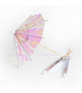 24 Iridescent Cocktail Umbrellas