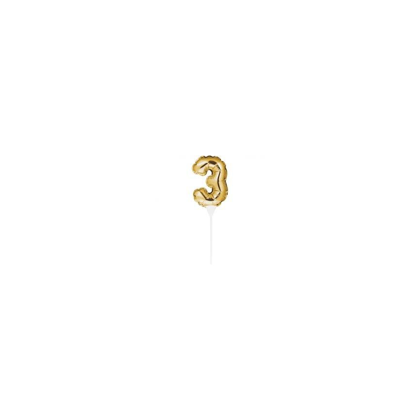 Mini Gold Balloon Number 2 Cake Topper