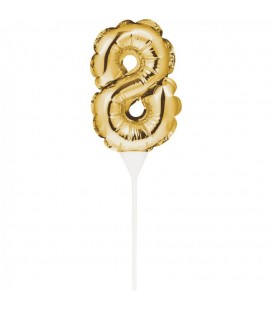 Mini Gold Balloon Number 6 Cake Topper