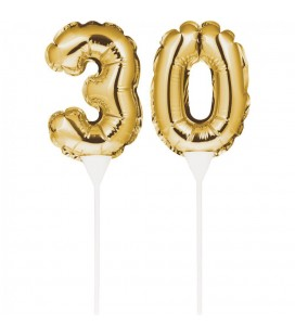 Mini Gold Balloon Number 30 Cake Topper