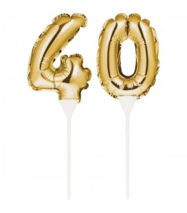 Mini Gold Balloon Number 40 Cake Topper