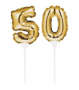 Mini Gold Balloon Number 50 Cake Topper