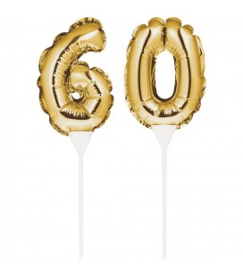 Mini Gold Balloon Number 60 Cake Topper