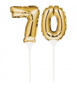 Mini Gold Balloon Number 70 Cake Topper