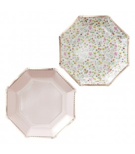 Assiettes Florales Rose Gold