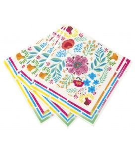 Serviettes Boho Lama Party Fleuries