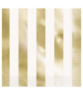 16 GOLD FOIL STRIPE LUNCHEON NAPKINS