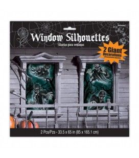 2 Window Silhouettes Haunted House