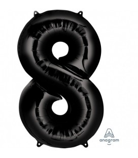 BLACK MYLAR BALLON NUMBER 8