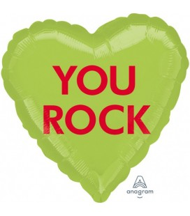 """You Rock"" Foil Balloon Heart"