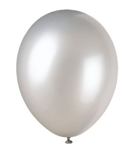 8 Pearlized Shimmer Silver Balloons