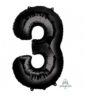 BLACK MYLAR BALLON NUMBER 3