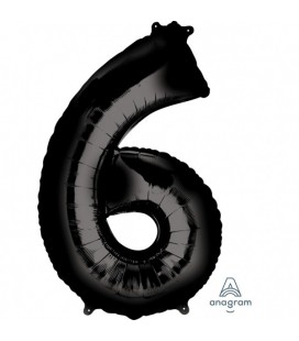 BLACK MYLAR BALLON NUMBER 6