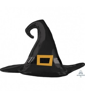 Satin Black Witch Hat Foil Balloon