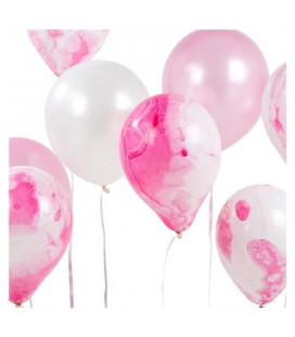8 Marble Lilac Balloons