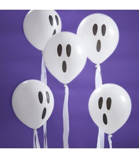 White Ghost Balloons with Streamers