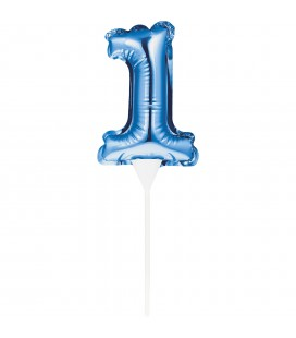 MINI BLUE BALLOON NUMBER 1 CAKE TOPPER