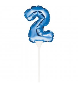Miini Blue Balloon Number 2 Cake Topper