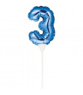 MINI BLUE BALLOON NUMBER 3 CAKE TOPPER