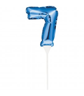 MINI BLUE BALLOON NUMBER 7 CAKE TOPPER