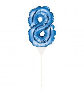 MINI BLUE BALLOON NUMBER 8 CAKE TOPPER