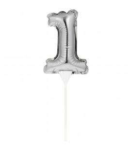 Mini Silver Balloon Number 1 Cake Topper