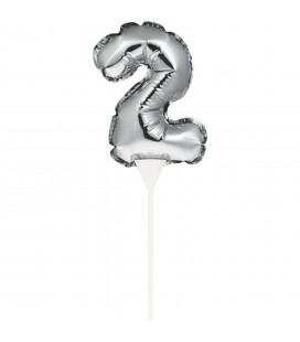 Mini Silver Balloon Number 2 Cake Topper