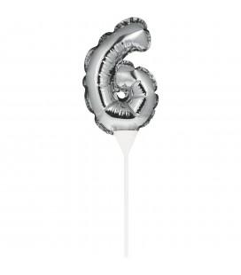 Mini Silver Balloon Number 6 Cake Topper