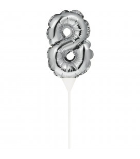 Mini Silver Balloon Number 8 Cake Topper