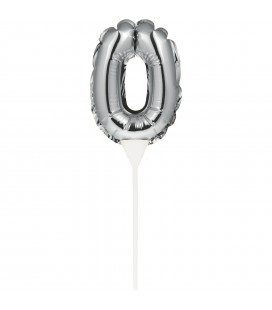 Mini Silver Balloon Number 0 Cake Topper