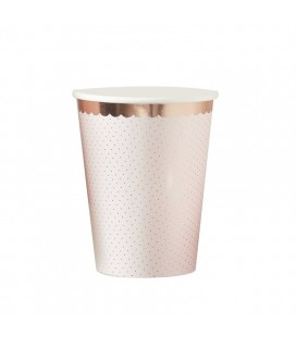 Rose gold foiled polka dot paper cups